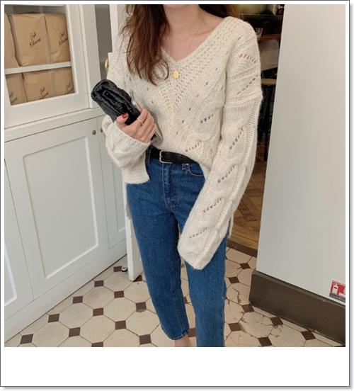 韓国 ファッション トップス ニット セーター 秋 冬 カジュアル PTXH336  ゆったり 体型カバー マニッシュ スポーティ オルチャン シンプル 定番 セレカジの写真13枚目