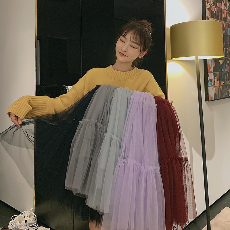 韓国 ファッション スカート ボトムス 秋 冬 春 カジュアル PTXH338  ティアード フリル ギャザー マキシ丈 オルチャン シンプル 定番 セレカジの写真2枚目