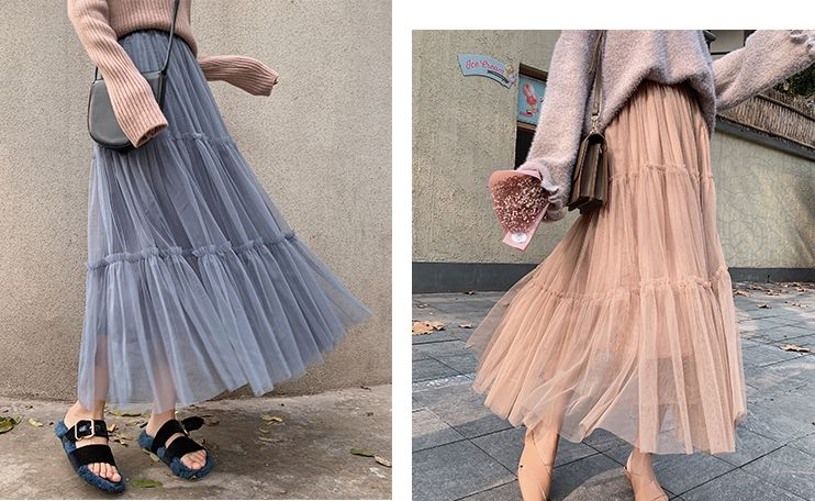 韓国 ファッション スカート ボトムス 秋 冬 春 カジュアル PTXH338  ティアード フリル ギャザー マキシ丈 オルチャン シンプル 定番 セレカジの写真5枚目
