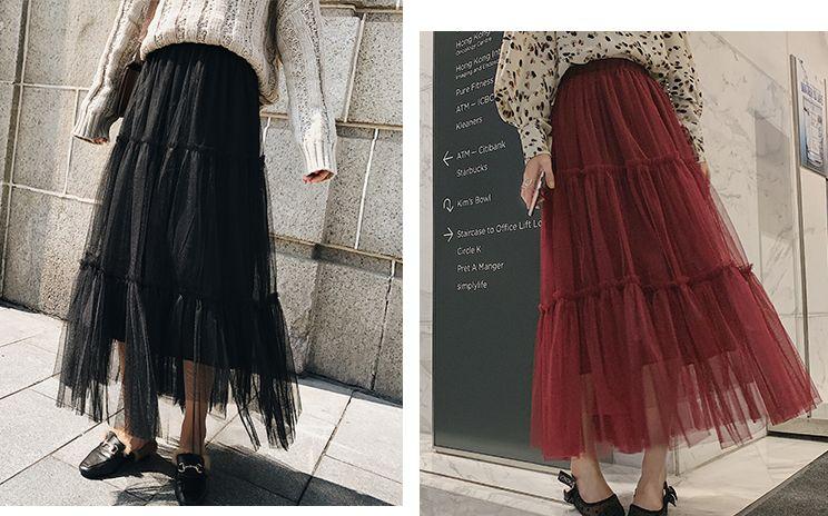 韓国 ファッション スカート ボトムス 秋 冬 春 カジュアル PTXH338  ティアード フリル ギャザー マキシ丈 オルチャン シンプル 定番 セレカジの写真7枚目