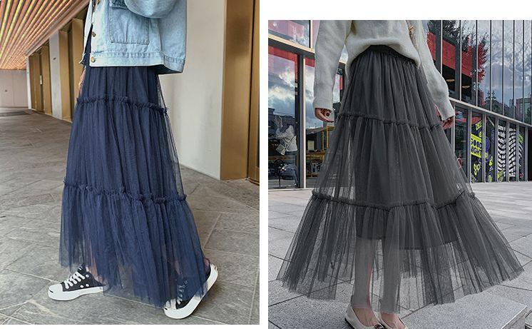 韓国 ファッション スカート ボトムス 秋 冬 春 カジュアル PTXH338  ティアード フリル ギャザー マキシ丈 オルチャン シンプル 定番 セレカジの写真8枚目