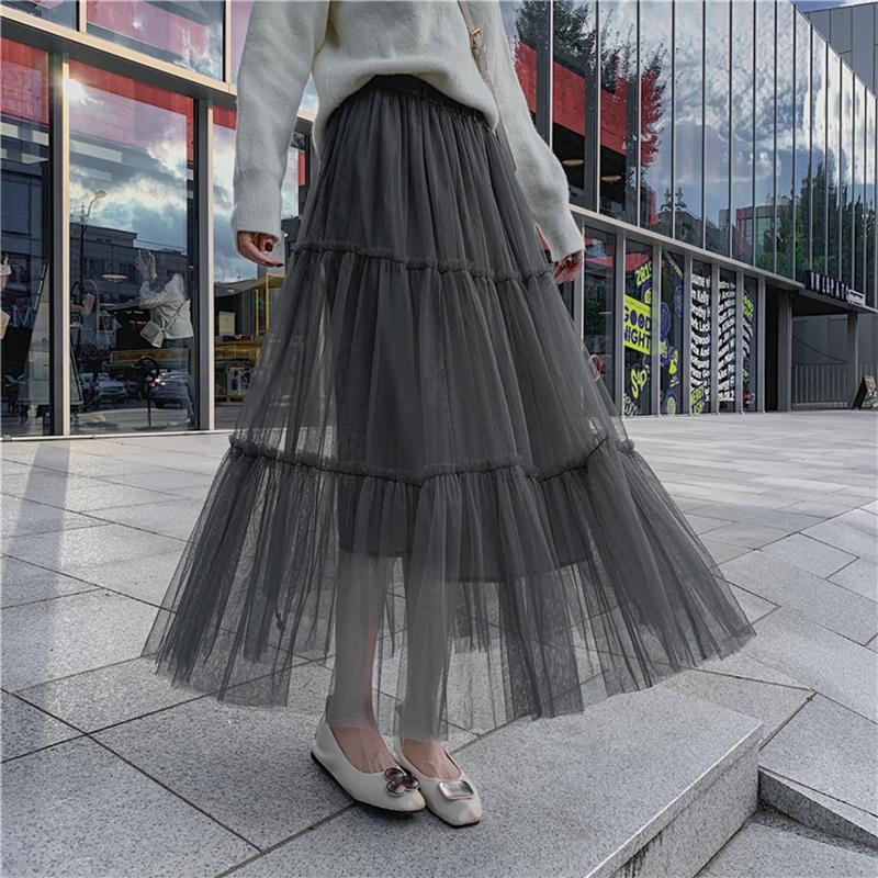 韓国 ファッション スカート ボトムス 秋 冬 春 カジュアル PTXH338  ティアード フリル ギャザー マキシ丈 オルチャン シンプル 定番 セレカジの写真9枚目