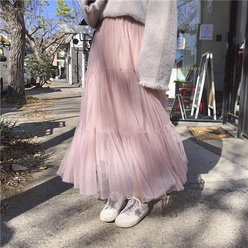 韓国 ファッション スカート ボトムス 秋 冬 春 カジュアル PTXH338  ティアード フリル ギャザー マキシ丈 オルチャン シンプル 定番 セレカジの写真10枚目