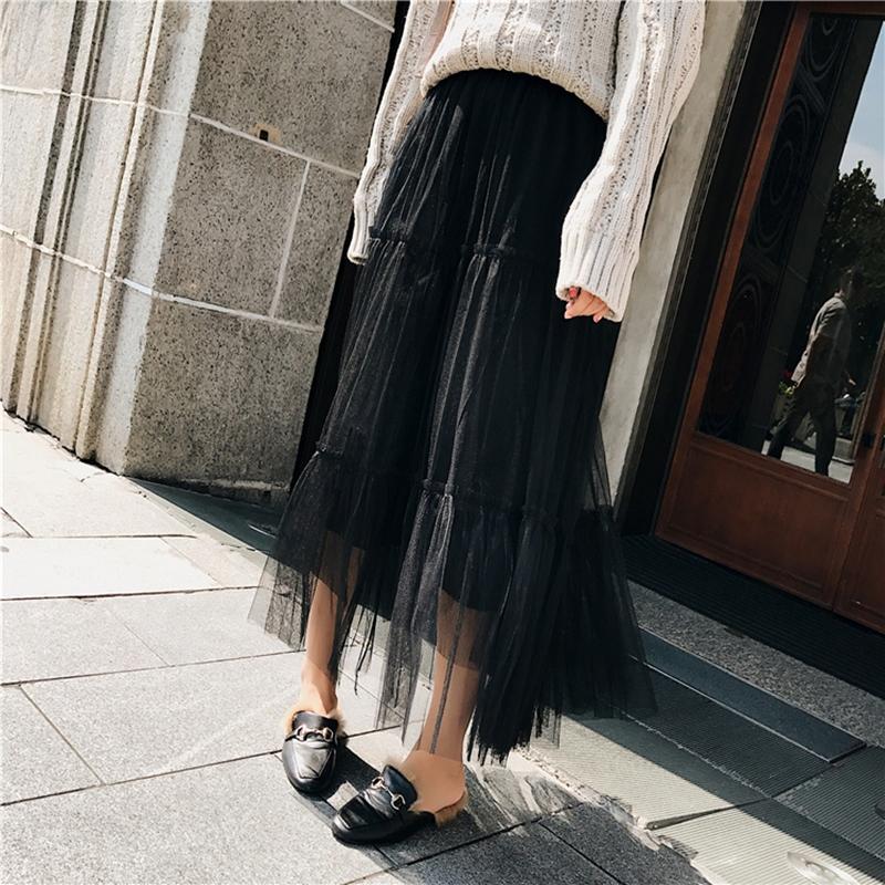 韓国 ファッション スカート ボトムス 秋 冬 春 カジュアル PTXH338  ティアード フリル ギャザー マキシ丈 オルチャン シンプル 定番 セレカジの写真12枚目