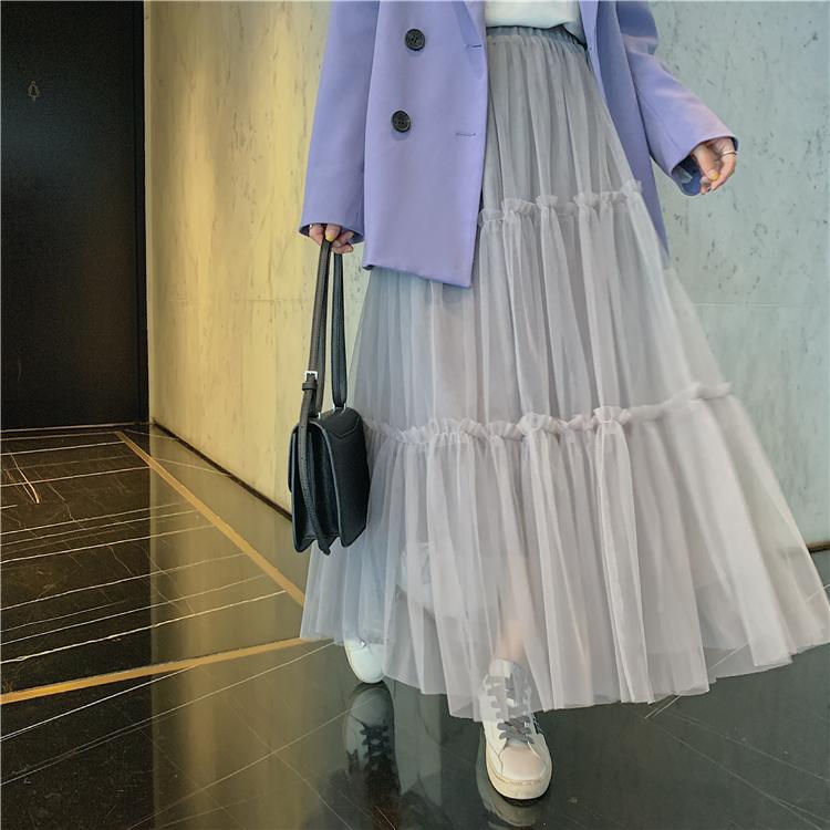 韓国 ファッション スカート ボトムス 秋 冬 春 カジュアル PTXH338  ティアード フリル ギャザー マキシ丈 オルチャン シンプル 定番 セレカジの写真13枚目