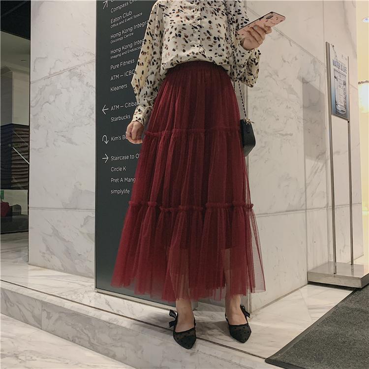 韓国 ファッション スカート ボトムス 秋 冬 春 カジュアル PTXH338  ティアード フリル ギャザー マキシ丈 オルチャン シンプル 定番 セレカジの写真14枚目