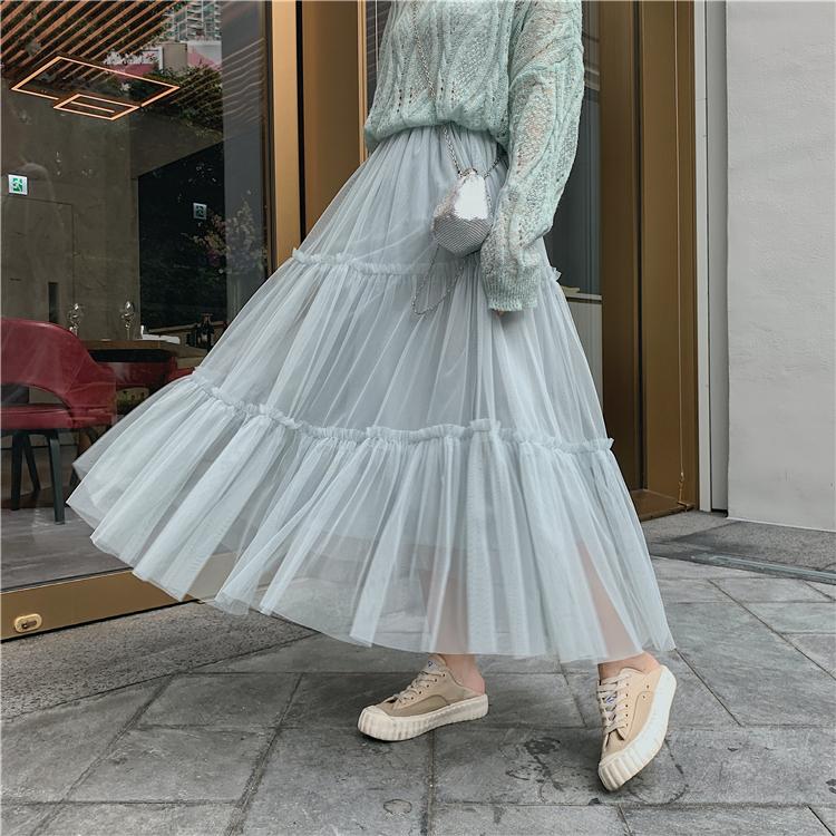 韓国 ファッション スカート ボトムス 秋 冬 春 カジュアル PTXH338  ティアード フリル ギャザー マキシ丈 オルチャン シンプル 定番 セレカジの写真15枚目