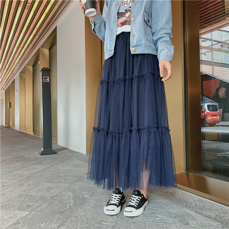 韓国 ファッション スカート ボトムス 秋 冬 春 カジュアル PTXH338  ティアード フリル ギャザー マキシ丈 オルチャン シンプル 定番 セレカジの写真16枚目