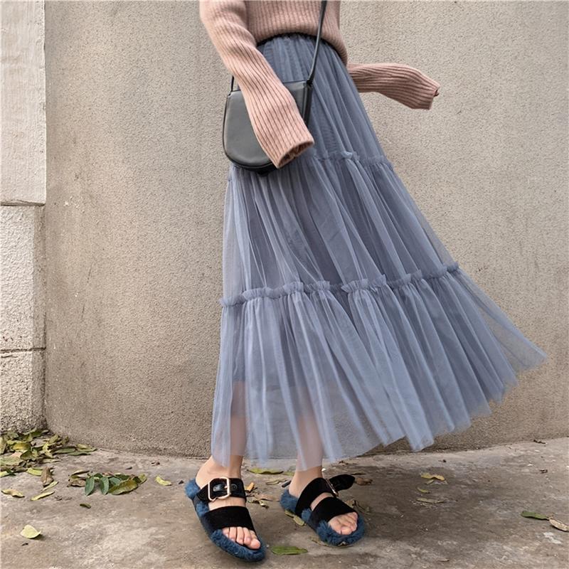 韓国 ファッション スカート ボトムス 秋 冬 春 カジュアル PTXH338  ティアード フリル ギャザー マキシ丈 オルチャン シンプル 定番 セレカジの写真18枚目