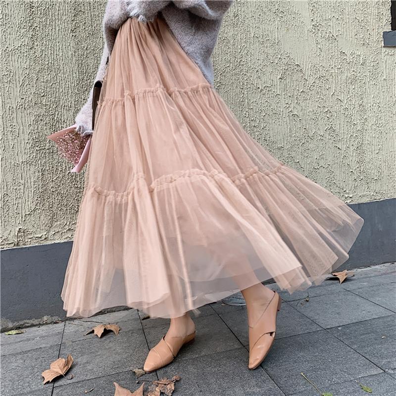 韓国 ファッション スカート ボトムス 秋 冬 春 カジュアル PTXH338  ティアード フリル ギャザー マキシ丈 オルチャン シンプル 定番 セレカジの写真19枚目