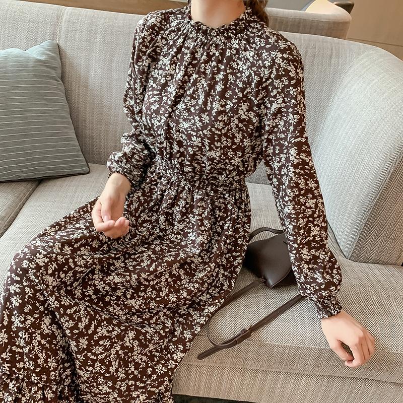 韓国 ファッション ワンピース 春 秋 冬 カジュアル PTXH363  ギャザー ハイネック フェミニン Aライン オルチャン シンプル 定番 セレカジの写真2枚目