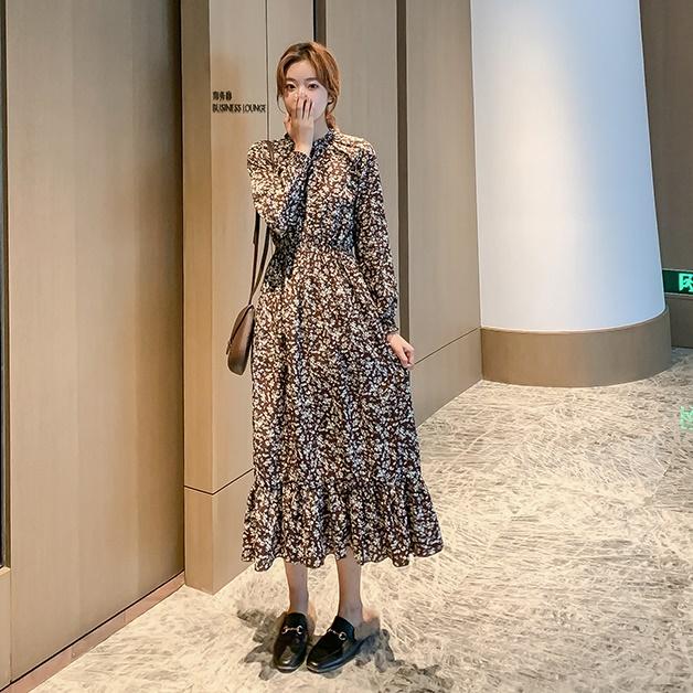 韓国 ファッション ワンピース 春 秋 冬 カジュアル PTXH363  ギャザー ハイネック フェミニン Aライン オルチャン シンプル 定番 セレカジの写真3枚目