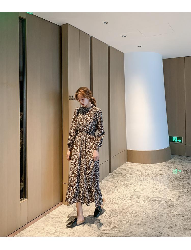 韓国 ファッション ワンピース 春 秋 冬 カジュアル PTXH363  ギャザー ハイネック フェミニン Aライン オルチャン シンプル 定番 セレカジの写真7枚目