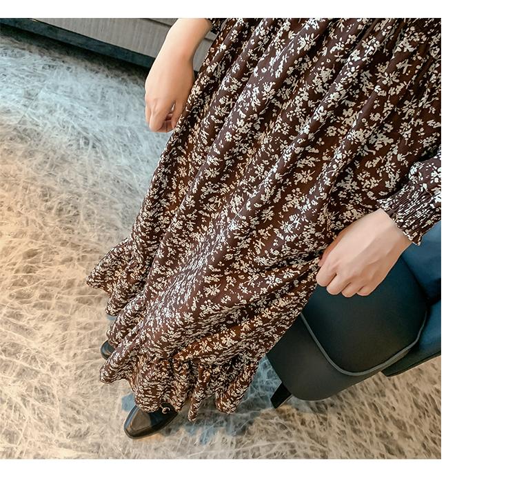 韓国 ファッション ワンピース 春 秋 冬 カジュアル PTXH363  ギャザー ハイネック フェミニン Aライン オルチャン シンプル 定番 セレカジの写真9枚目
