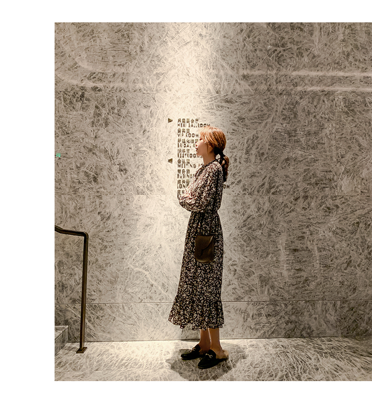 韓国 ファッション ワンピース 春 秋 冬 カジュアル PTXH363  ギャザー ハイネック フェミニン Aライン オルチャン シンプル 定番 セレカジの写真12枚目