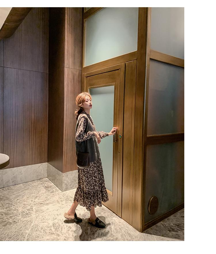 韓国 ファッション ワンピース 春 秋 冬 カジュアル PTXH363  ギャザー ハイネック フェミニン Aライン オルチャン シンプル 定番 セレカジの写真16枚目