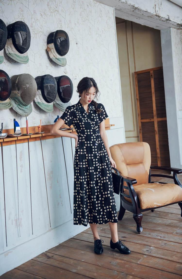 リゾートワンピース ロング マキシ ハワイ お出かけワンピ 春 夏 リゾート パーティー PTXH369  フェミニン レトロ ラップドレス リゾート セレブ セクシーの写真12枚目