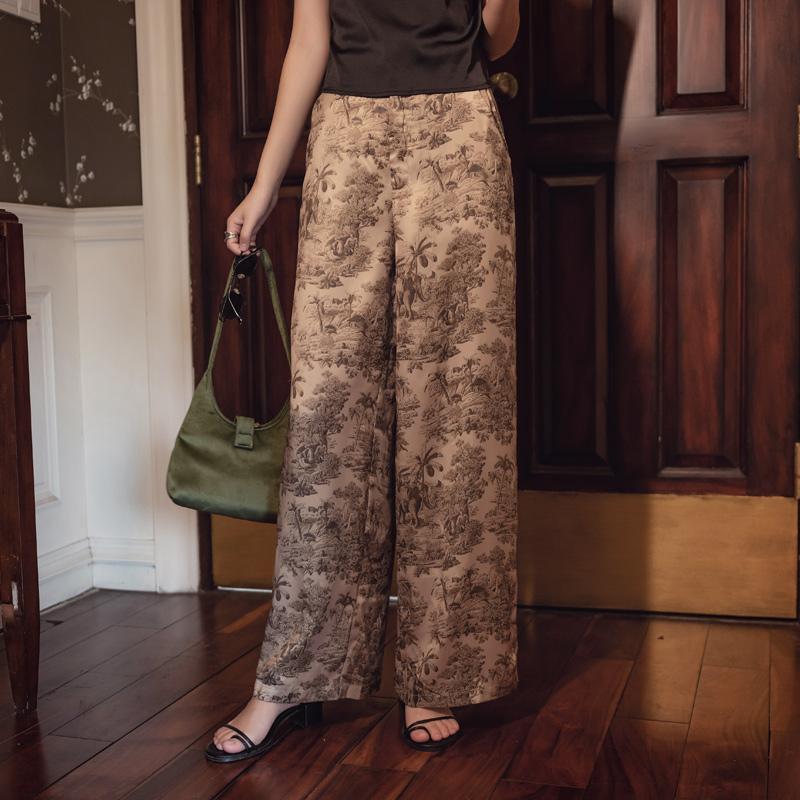 韓国 ファッション パンツ ボトムス 春 夏 リゾート パーティー PTXH376  サテン風 光沢 レトロ リラクシー リゾート オルチャン セレブ セクシーの写真2枚目