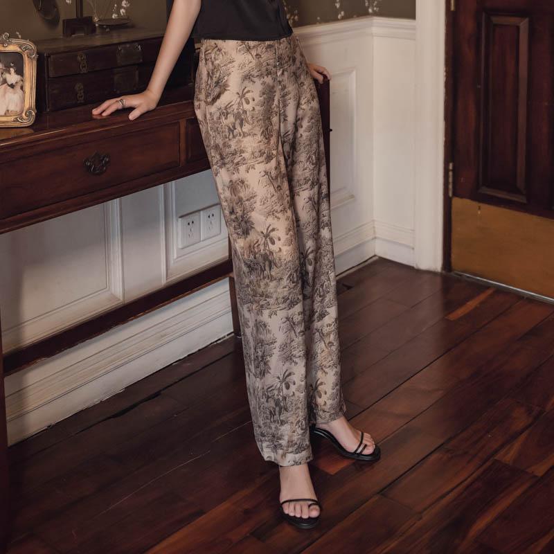 韓国 ファッション パンツ ボトムス 春 夏 リゾート パーティー PTXH376  サテン風 光沢 レトロ リラクシー リゾート オルチャン セレブ セクシーの写真5枚目