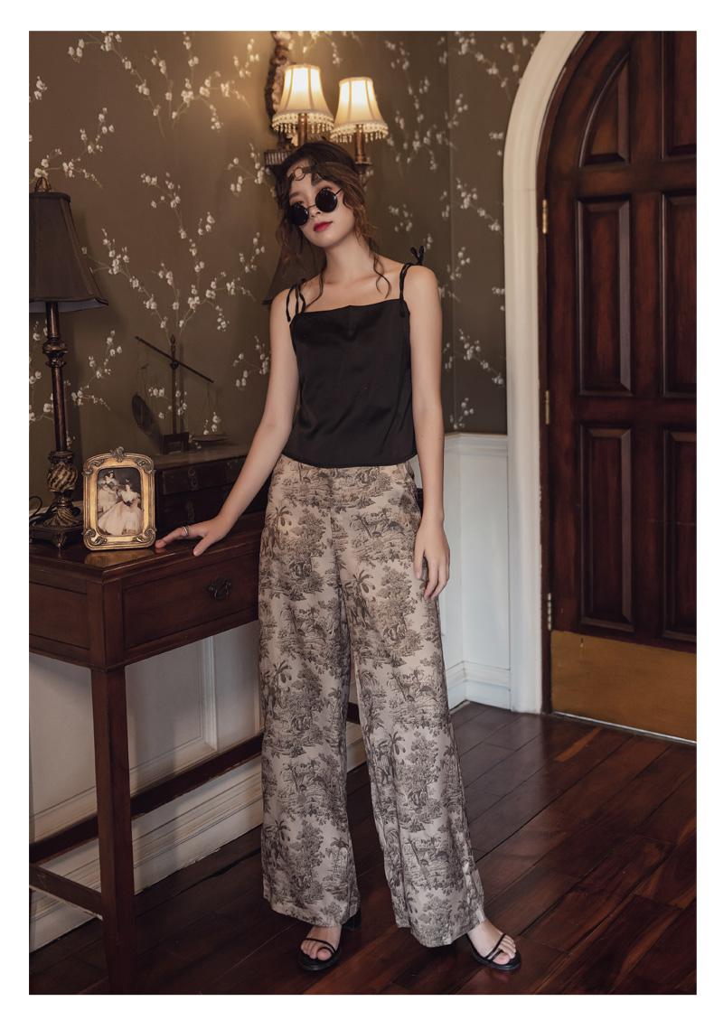 韓国 ファッション パンツ ボトムス 春 夏 リゾート パーティー PTXH376  サテン風 光沢 レトロ リラクシー リゾート オルチャン セレブ セクシーの写真14枚目