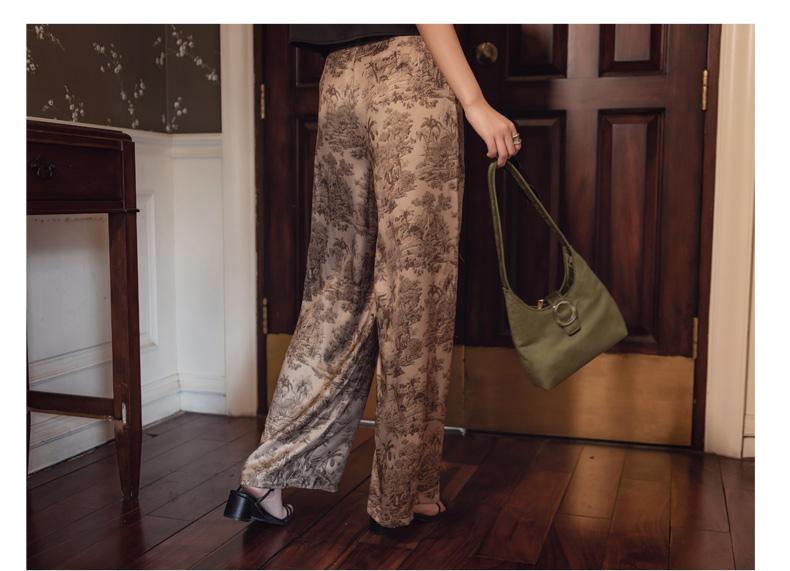 韓国 ファッション パンツ ボトムス 春 夏 リゾート パーティー PTXH376  サテン風 光沢 レトロ リラクシー リゾート オルチャン セレブ セクシーの写真16枚目