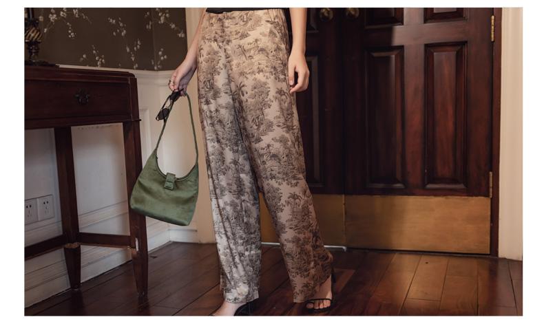 韓国 ファッション パンツ ボトムス 春 夏 リゾート パーティー PTXH376  サテン風 光沢 レトロ リラクシー リゾート オルチャン セレブ セクシーの写真17枚目