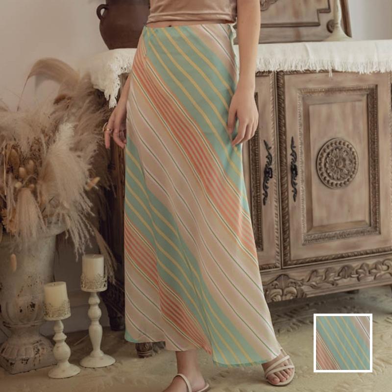 韓国 ファッション スカート ボトムス 春 夏 リゾート パーティー PTXH384  バイアス シャーベットカラー マキシ リゾート オルチャン セレブ セクシーの写真1枚目