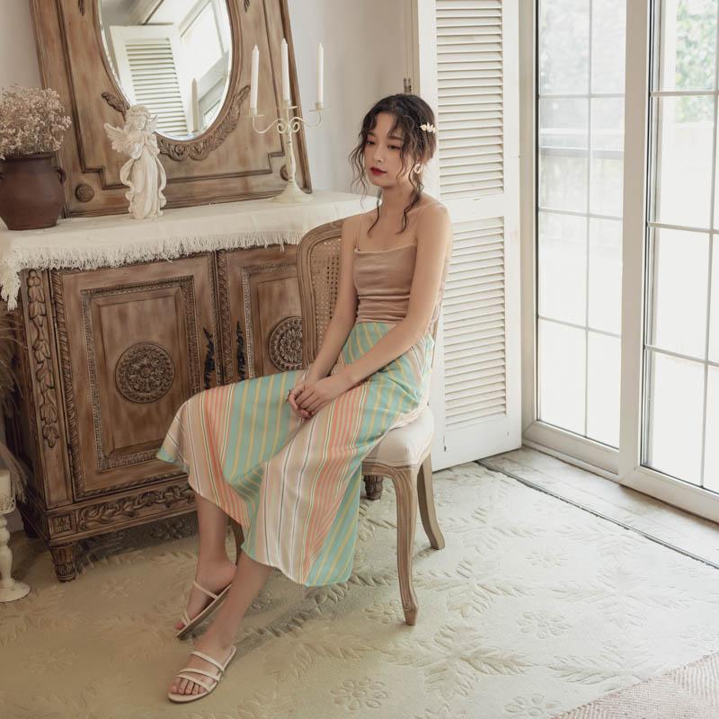 韓国 ファッション スカート ボトムス 春 夏 リゾート パーティー PTXH384  バイアス シャーベットカラー マキシ リゾート オルチャン セレブ セクシーの写真5枚目