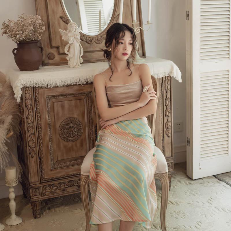 韓国 ファッション スカート ボトムス 春 夏 リゾート パーティー PTXH384  バイアス シャーベットカラー マキシ リゾート オルチャン セレブ セクシーの写真6枚目