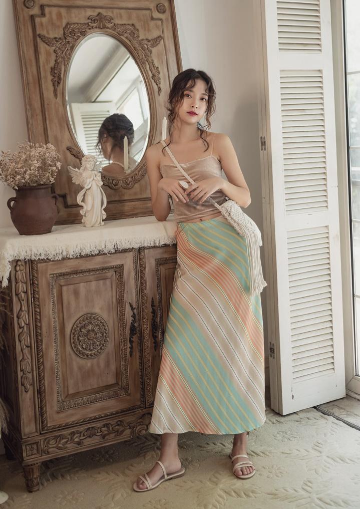 韓国 ファッション スカート ボトムス 春 夏 リゾート パーティー PTXH384  バイアス シャーベットカラー マキシ リゾート オルチャン セレブ セクシーの写真8枚目