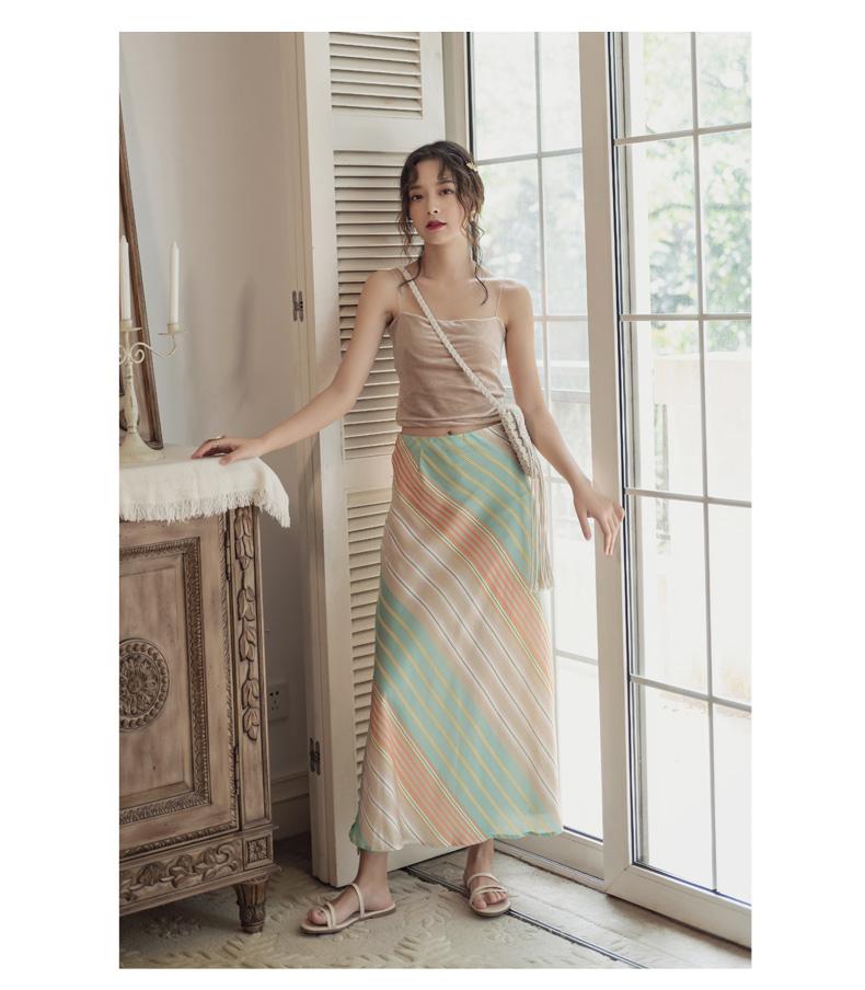 韓国 ファッション スカート ボトムス 春 夏 リゾート パーティー PTXH384  バイアス シャーベットカラー マキシ リゾート オルチャン セレブ セクシーの写真10枚目