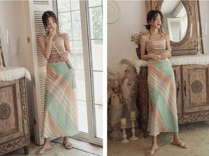 韓国 ファッション スカート ボトムス 春 夏 リゾート パーティー PTXH384  バイアス シャーベットカラー マキシ リゾート オルチャン セレブ セクシーの写真11枚目