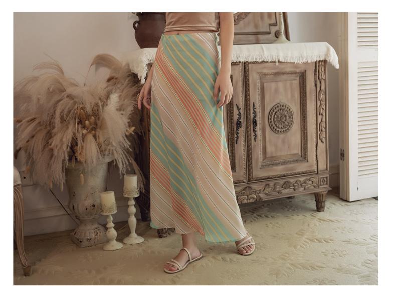 韓国 ファッション スカート ボトムス 春 夏 リゾート パーティー PTXH384  バイアス シャーベットカラー マキシ リゾート オルチャン セレブ セクシーの写真15枚目
