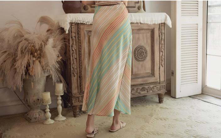 韓国 ファッション スカート ボトムス 春 夏 リゾート パーティー PTXH384  バイアス シャーベットカラー マキシ リゾート オルチャン セレブ セクシーの写真17枚目