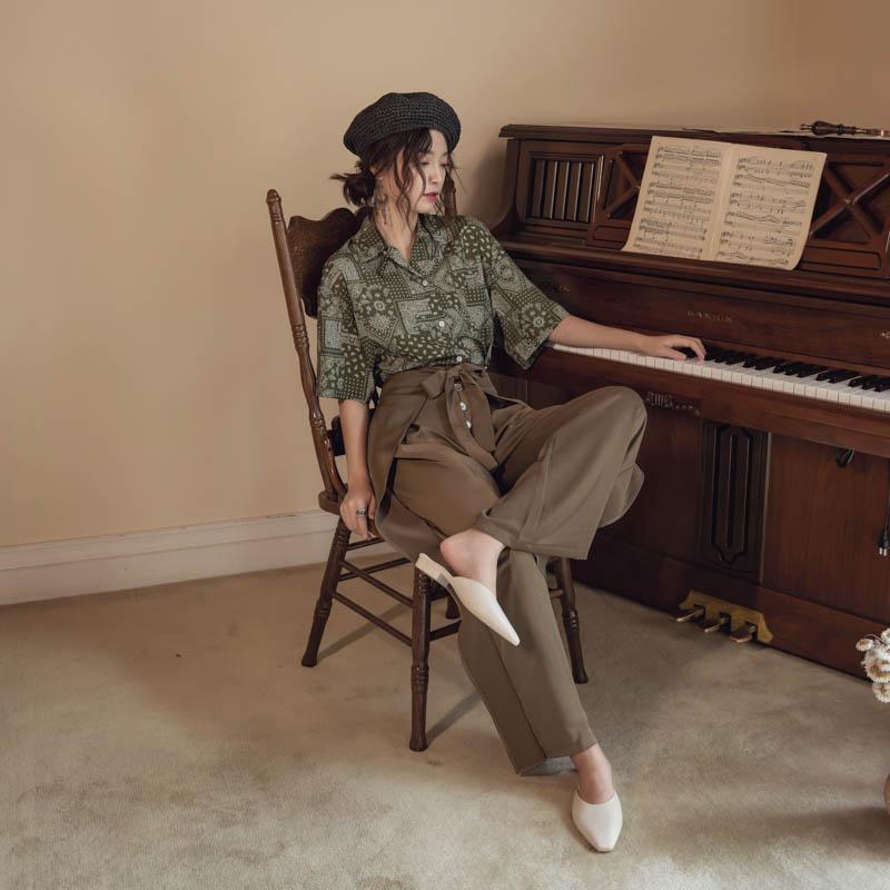 韓国 ファッション パンツ ボトムス 春 夏 リゾート パーティー PTXH390  スリットパンツ風 ウエストリボン リゾート オルチャン セレブ セクシーの写真2枚目