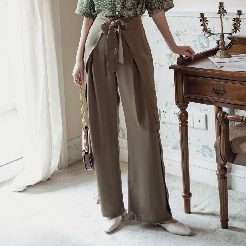韓国 ファッション パンツ ボトムス 春 夏 リゾート パーティー PTXH390  スリットパンツ風 ウエストリボン リゾート オルチャン セレブ セクシーの写真3枚目