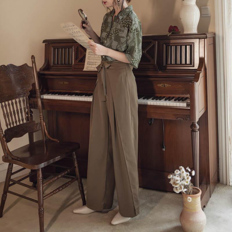 韓国 ファッション パンツ ボトムス 春 夏 リゾート パーティー PTXH390  スリットパンツ風 ウエストリボン リゾート オルチャン セレブ セクシーの写真4枚目