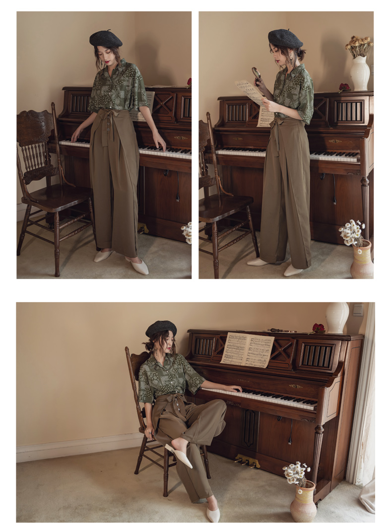 韓国 ファッション パンツ ボトムス 春 夏 リゾート パーティー PTXH390  スリットパンツ風 ウエストリボン リゾート オルチャン セレブ セクシーの写真11枚目