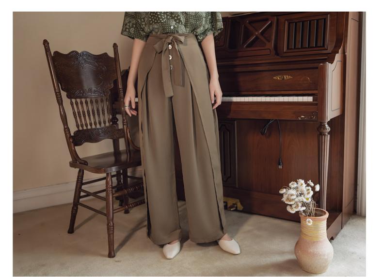 韓国 ファッション パンツ ボトムス 春 夏 リゾート パーティー PTXH390  スリットパンツ風 ウエストリボン リゾート オルチャン セレブ セクシーの写真16枚目