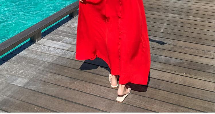 リゾートワンピース ロング マキシ ハワイ お出かけワンピ 夏 春 リゾート パーティー PTXH412  シアー オフショル風 フリル マキシ丈 リゾート セレブ セクシーの写真15枚目