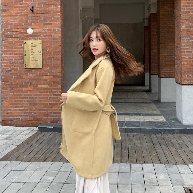 韓国 ファッション アウター コート 春 秋 冬 カジュアル PTXH418  ベーシック トレンチコート風 ミディ丈 オルチャン シンプル 定番 セレカジの写真4枚目
