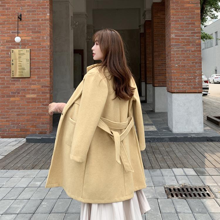 韓国 ファッション アウター コート 春 秋 冬 カジュアル PTXH418  ベーシック トレンチコート風 ミディ丈 オルチャン シンプル 定番 セレカジの写真10枚目