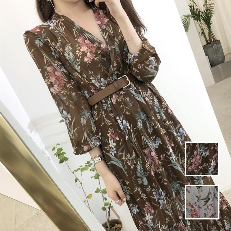 韓国 ファッション ワンピース 夏 春 カジュアル PTXH422  シアー シフォン風 エレガント 着回し オルチャン シンプル 定番 セレカジの写真1枚目