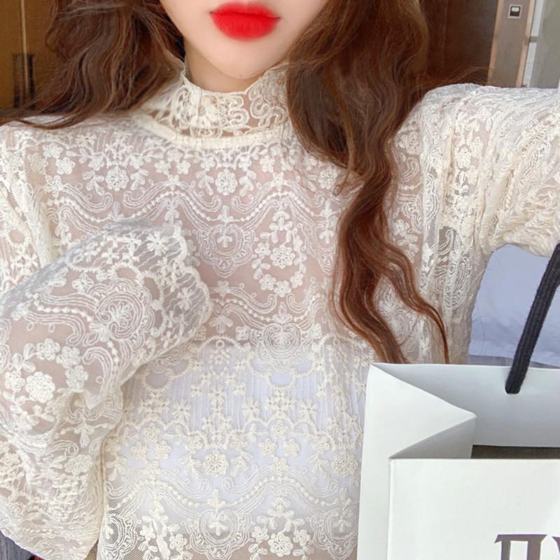 韓国 ファッション トップス Tシャツ カットソー 夏 春 秋 カジュアル PTXH428  シースルー レース プルオーバー レイヤード オルチャン シンプル 定番 セレカジの写真2枚目