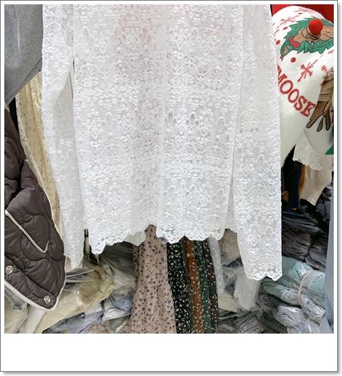 韓国 ファッション トップス Tシャツ カットソー 夏 春 秋 カジュアル PTXH428  シースルー レース プルオーバー レイヤード オルチャン シンプル 定番 セレカジの写真4枚目