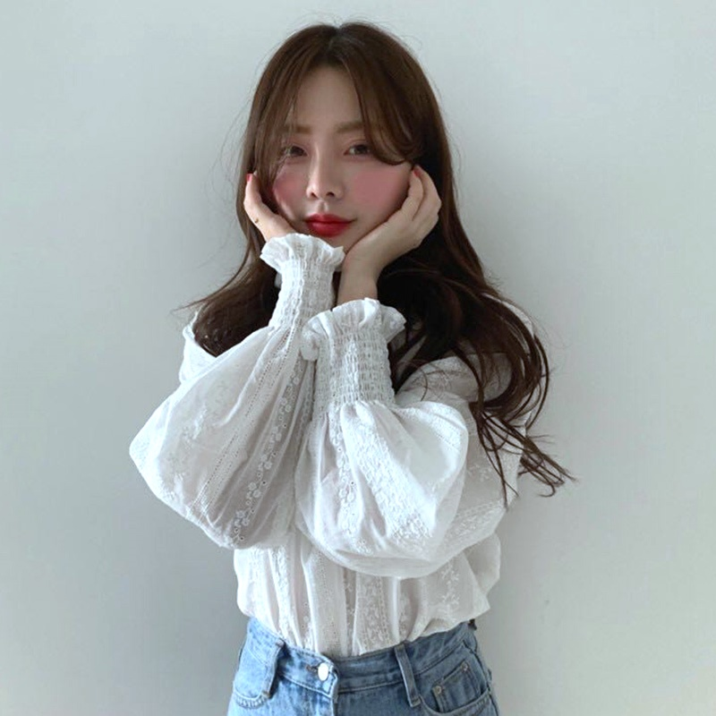 韓国 ファッション トップス ブラウス シャツ 春 夏 カジュアル PTXH429  刺繍 パンチングレース ガーリー プルオーバー オルチャン シンプル 定番 セレカジの写真3枚目