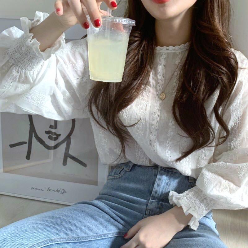 韓国 ファッション トップス ブラウス シャツ 夏 春 カジュアル PTXH429  刺繍 パンチングレース ガーリー プルオーバー オルチャン シンプル 定番 セレカジの写真6枚目