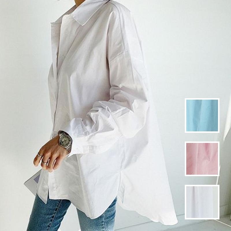 韓国 ファッション トップス ブラウス シャツ 春 夏 カジュアル PTXH430  ビッグシルエット フィッシュテール ベーシック オルチャン シンプル 定番 セレカジの写真1枚目