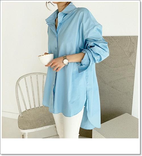 韓国 ファッション トップス ブラウス シャツ 春 夏 カジュアル PTXH430  ビッグシルエット フィッシュテール ベーシック オルチャン シンプル 定番 セレカジの写真2枚目