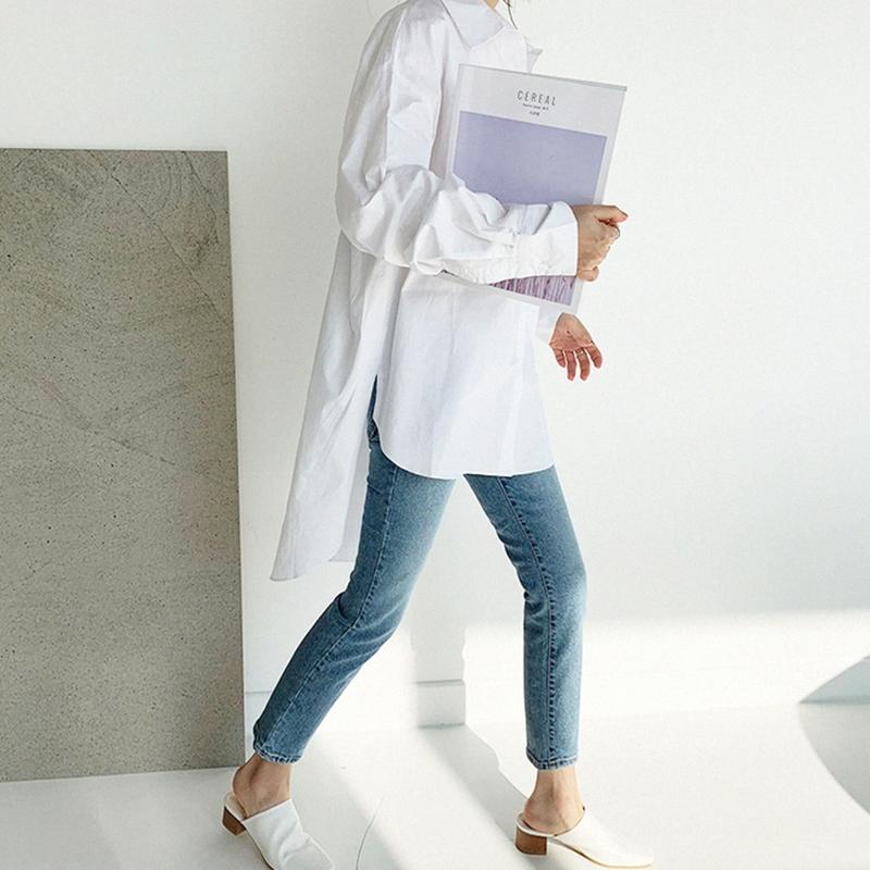 韓国 ファッション トップス ブラウス シャツ 春 夏 カジュアル PTXH430  ビッグシルエット フィッシュテール ベーシック オルチャン シンプル 定番 セレカジの写真4枚目